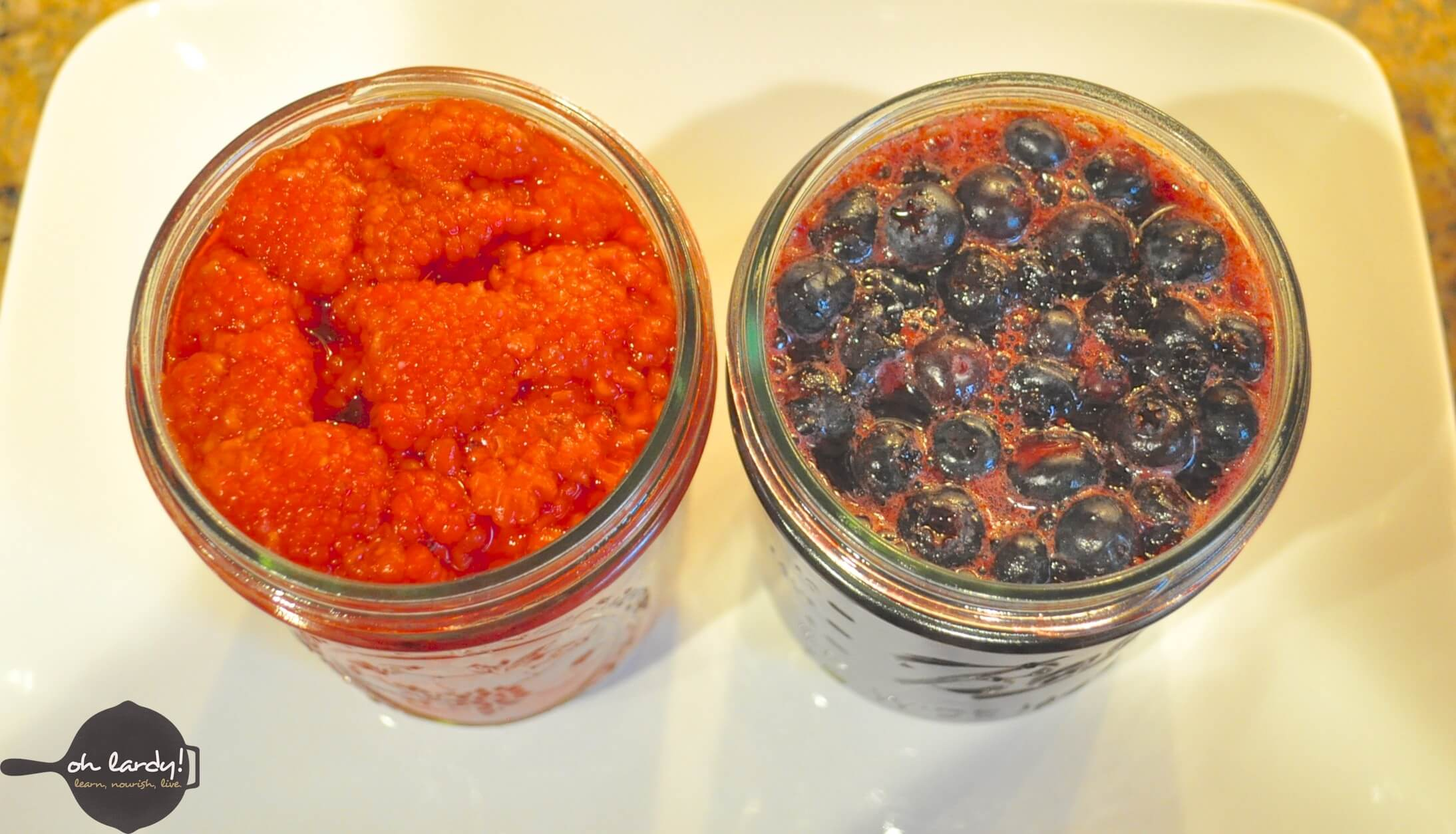 Lacto-fermented raspberries and blueberries